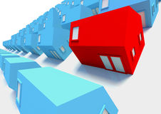 Red House in the Foreground. The Red House amongst The Blue,a picture for real-estate business Royalty Free Stock Image
