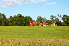 Red house on the green meadow Royalty Free Stock Photos