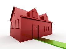 Red house with green way Royalty Free Stock Images