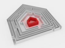 RED HOUSE IN LABYRINTH. Stock Photo