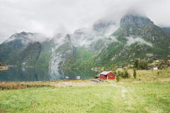 Red house by a lake, Lofoten, Norway Stock Photography
