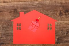Red house made of paper and keys Stock Image