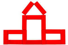 Red house made of wooden toy Stock Image