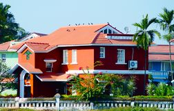 Red house near the beach in Benaulim, South Goa, India Royalty Free Stock Photo