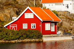 Red house near fjord Kragero, Portor Royalty Free Stock Photography