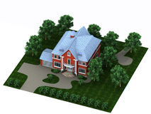 Red house with a plot Stock Photos