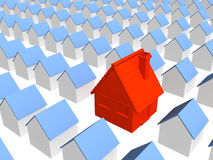Red house with row identical houses Stock Images