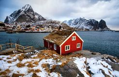 Red house and sea royalty free stock images
