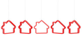 Red house shaped icon Stock Images