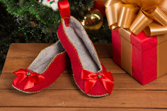 Red house slippers Stock Photography