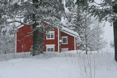 Red house in snow. Red house in a forest covered with snow Royalty Free Stock Image