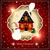 Red house and snowman on a snowy background. Royalty Free Stock Images