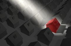 Red House in Spotlight Royalty Free Stock Photo
