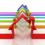 Red house stripes. 3d colorful stripes of house on a white reflective background Royalty Free Stock Photo