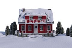 Red house with trees Royalty Free Stock Photo