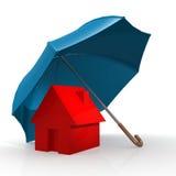 Red house under blue umbrella Stock Image
