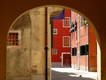 Red house in Venice Royalty Free Stock Photography