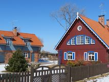 Beautiful red house. Red house in village Minge, Lithuania Royalty Free Stock Photography