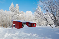 The red house on the white snowfield Royalty Free Stock Photo