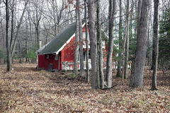 Red house in the woods Royalty Free Stock Image