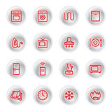 Red household appliances icons. On grey buttons Royalty Free Stock Images