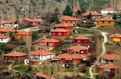 Red houses. On the hill Stock Image