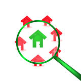 Red houses background with green house in centre Stock Photo