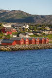 Red houses on the bay of Alta, Norway stock photo