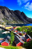 Red houses, cliffs and sea. Typical red houses in the lofoten islands (norway) with cliffs. The traditional port of Nussfjord Royalty Free Stock Photography
