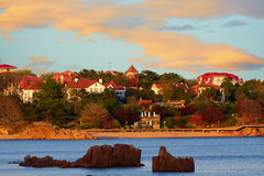 Red houses green trees blue sea, Qingdao. Cityscape, Qingdao city view stock images