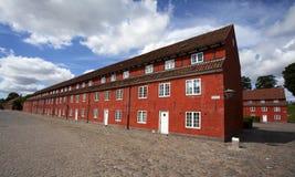 Red houses in the Kastellet fortress in Copenhagen, Denmark Stock Photo