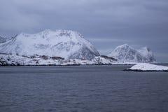 Red houses near Bergsfjorden-shoreline Stock Photography
