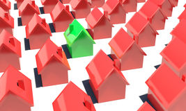Red Houses and one green Stock Image
