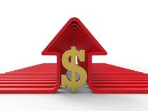 Red houses profiles with a golden dollar sign. 3D render illustration of multiple red houses profiles arranged in a line and a golden dollar sign positioned vector illustration