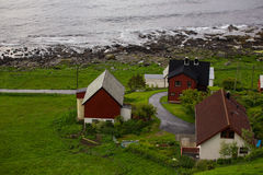 Red houses on a sea coast Stock Photo