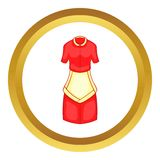Red housewife dress with white apron vector icon Stock Photo