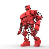Red humanoid robot. Stands sideways on white background Royalty Free Stock Photography
