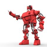 Red humanoid robot. On white background shows something Royalty Free Stock Photography