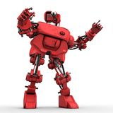 Red humanoid robot. On white background shows something Royalty Free Stock Photos