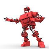 Red humanoid robot. On white background shows something Stock Photos