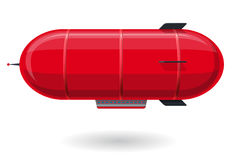 Red humorous airship. Stylized flying balloon as toy. Small dirigible with antenna and rudder. Royalty Free Stock Image