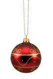 Red hung christmas bauble Royalty Free Stock Photo