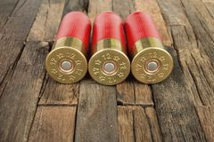 Red hunting cartridges for shotgun. Royalty Free Stock Photography