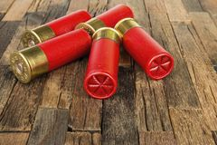 Red hunting cartridges for shotgun. Royalty Free Stock Images