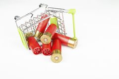 Red hunting cartridges for shotgun in metal shopping trolley. Stock Photography