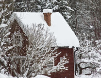 Red hut in winter woods. A small idyllic Swedish hut completely covered in snow at the ends of a forest Royalty Free Stock Photography