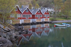 Red huts by the fiord, Norway Stock Photo