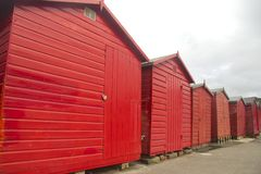 Red huts, grey sky Stock Photo