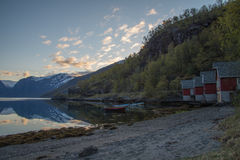 Red Huts With Panoramic View Of Fiord, Norway Stock Image