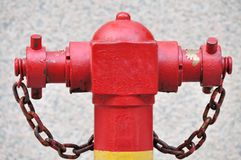 Red hydrant. Close-up on outdoor red fire hydrant Royalty Free Stock Photo